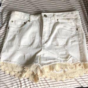 White Lace Jean Shorts